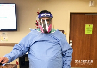 Dr. Salim Surani, in his protective gear as he cares for patients in the ICU.