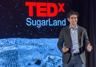 "Dr. Ben Jawdat, Founder and CEO at Revterra, presenting on the topic ""Clean Energy's Dirty Secret,"" at TEDxSugarLand."