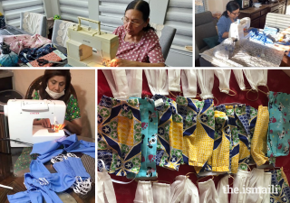 Dilshad Mawani (left), Sultana Sherali (top left), and Mumtaz Hirani (top right) have helped to make face coverings for physicians and families all over the Dallas region.