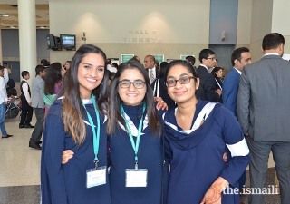 Anam Sherali (center) with other volunteers in Houston. The Ismaili Volunteer Corps in the USA have supported the development of the Jamat for over 40 years.