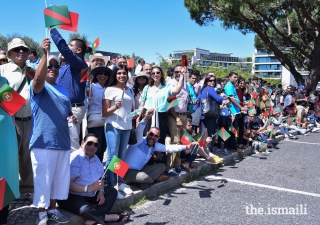 Members of the Jamat congregated at Parque Eduardo VII to welcome Mawlana Hazar Imam to Portugal.