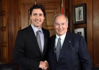 Canadian Prime Minister Justin Trudeau and Mawlana Hazar Imam at the Parliament Hill in Ottawa. Zahur Ramji
