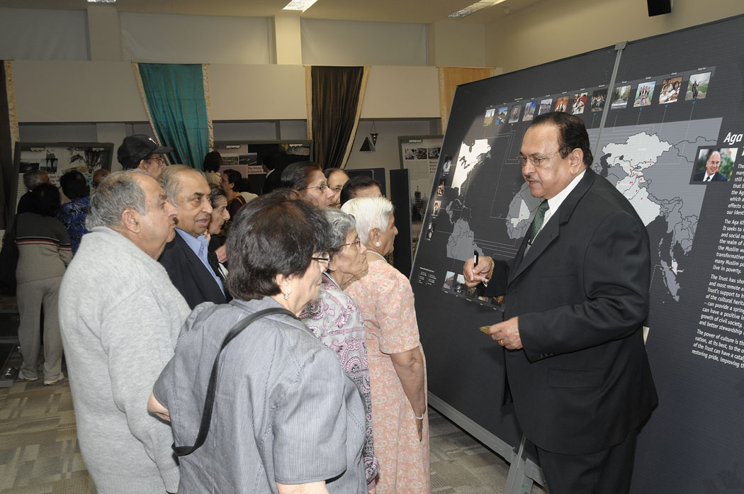 Ismaili Seniors receive a tour of the Historic Cities Programme exhibition at the Ontario Science Centre. Photo: Moez Visram