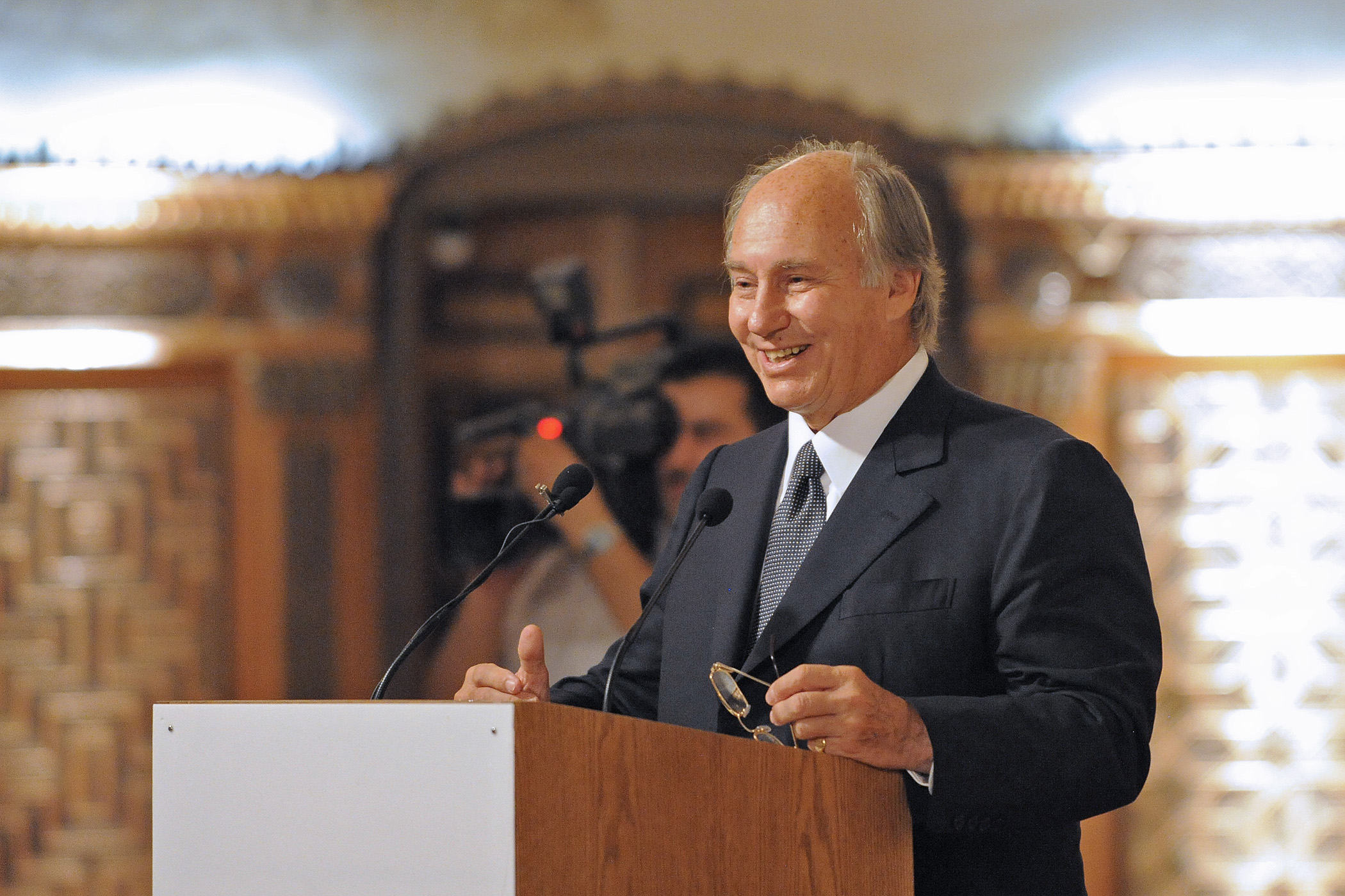 Mawlana Hazar Imam smiles during his speech at a ceremony marking the completion of cultural revitalisation work carried out by the Aga Khan Trust for Culture in partnership with the Syrian Directorate General of Antiquities and Museums. Photo: Gary Otte