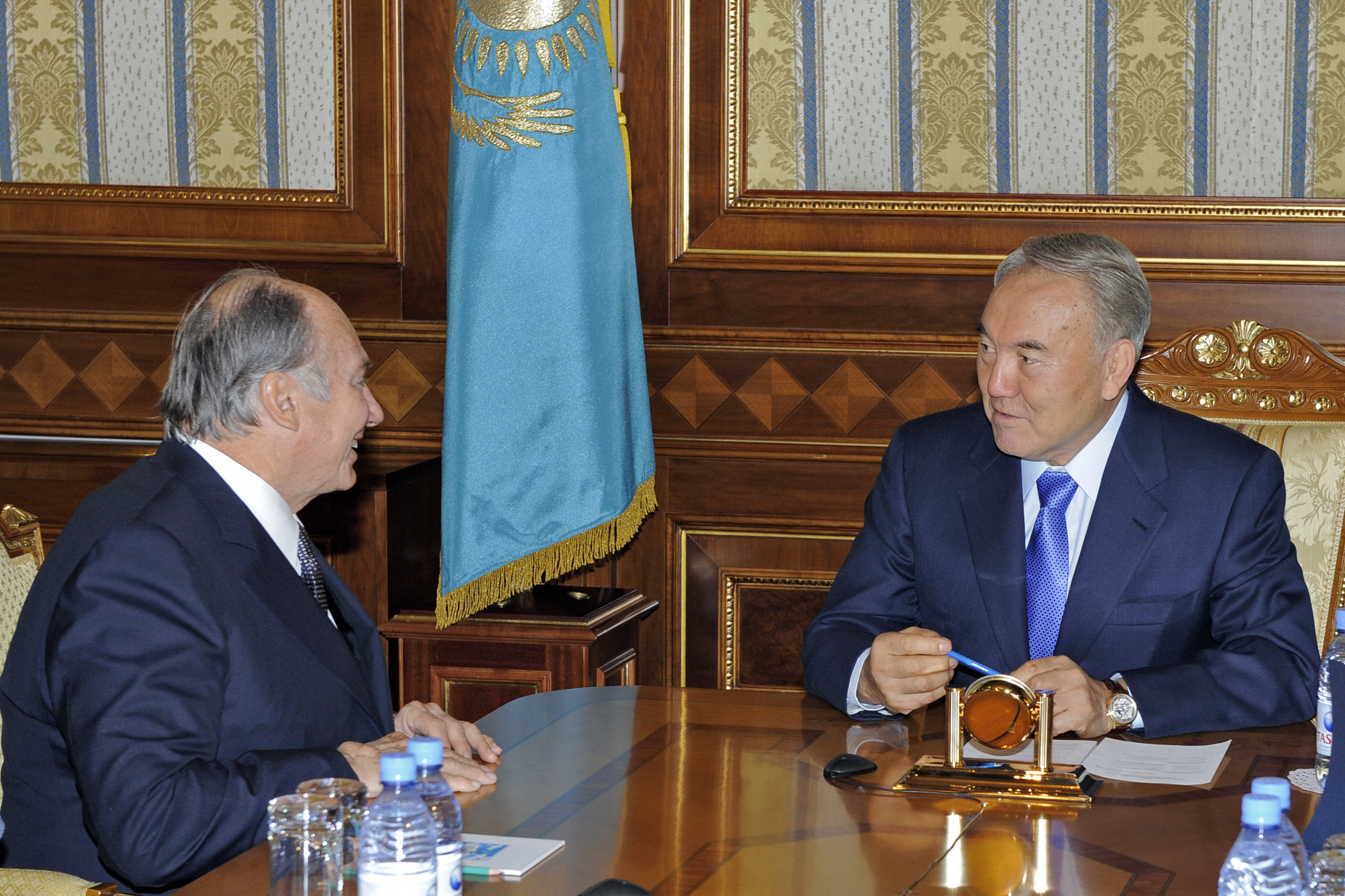 Mawlana Hazar Imam meets with His Excellency President Nursultan Nazarbayev at the Presidential Palace. Photo: Gary Otte