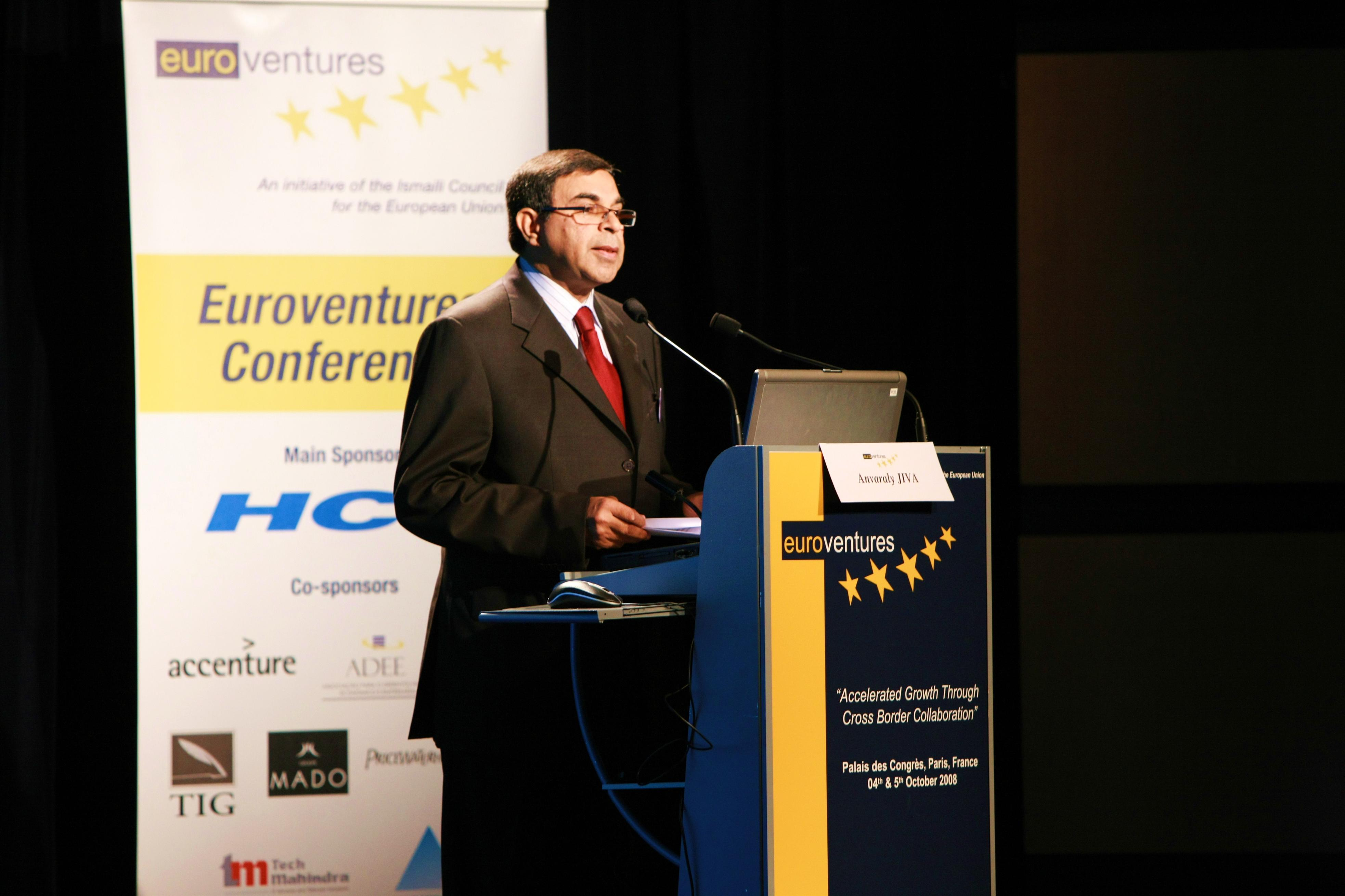 ICEU President Anvaraly Jiva addresses the audience at the Euroventures Conference in Paris. Photo: Courtesy of the Ismaili Council for the EU