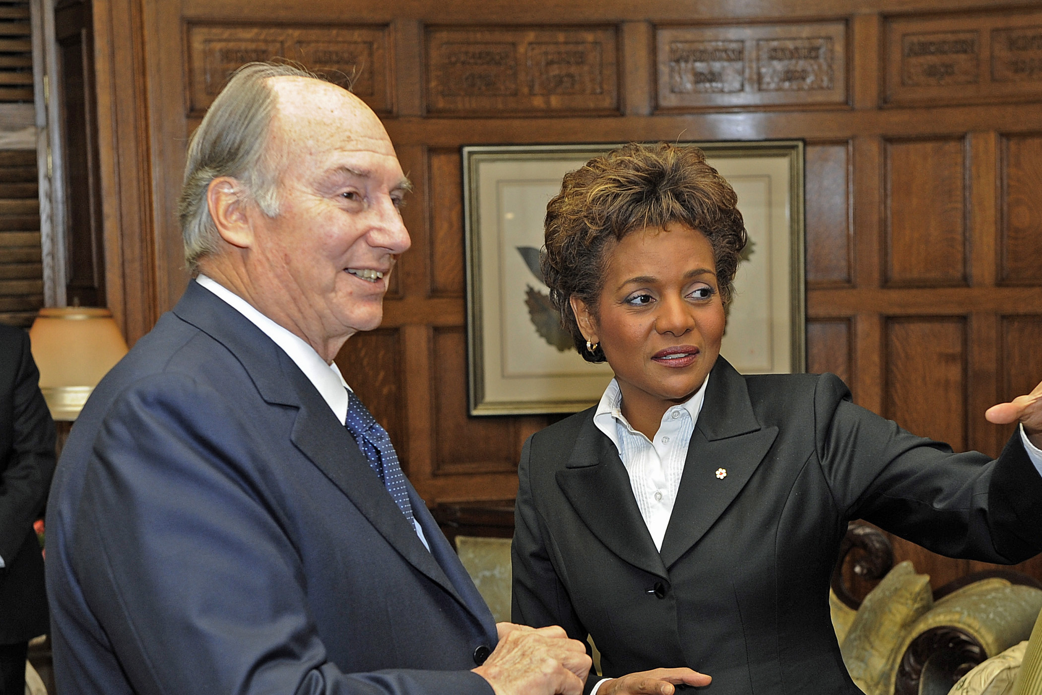 Mawlana Hazar Imam with Her Excellency the Right Honourable Michaëlle Jean, Governor General of Canada, at Rideau Hall. Photo: Gary Otte