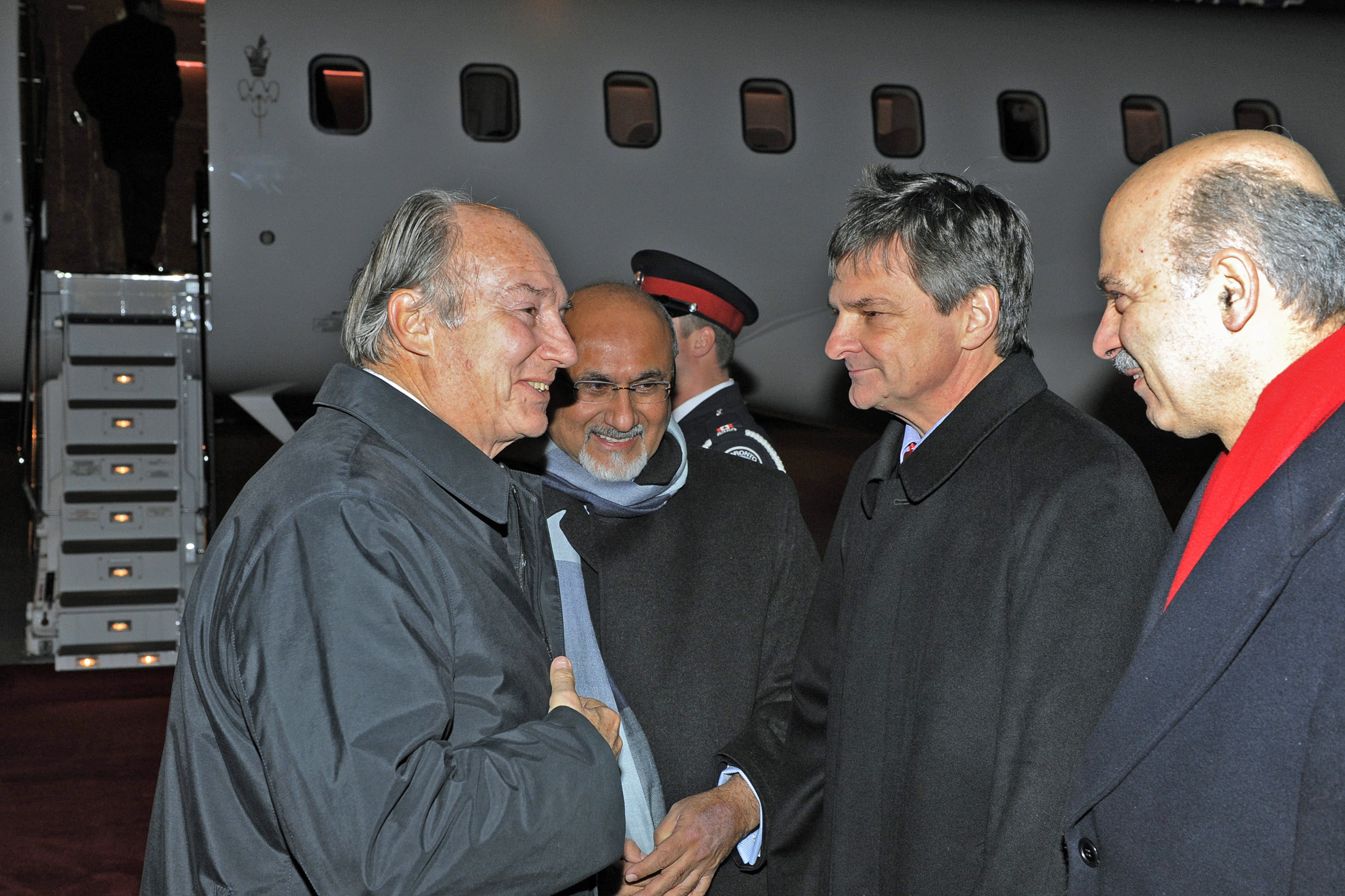 Attorney General Chris Bentley and MPP Reza Moridi welcome Mawlana Hazar Imam to Toronto. Photo: Gary Otte