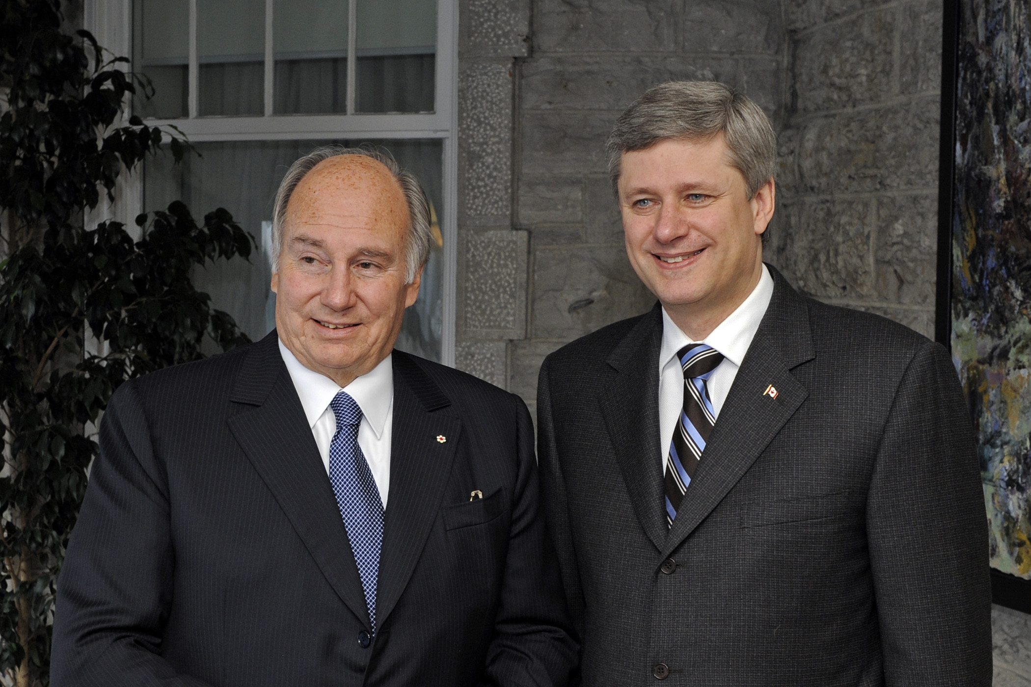 The Right Honourable Stephen Harper, Prime Minister of Canada, with Mawlana Hazar Imam in front of the Prime Minister's residence at 24 Sussex Drive in Ottawa. Photo: Gary Otte