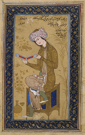 This painting, signed by Reza Abbasi, provides an insight into several aspects of art and society at the Safavid court in the 1620s. The young man reading embodies the fashion of the day. Photo: The Trustees of the British Museum