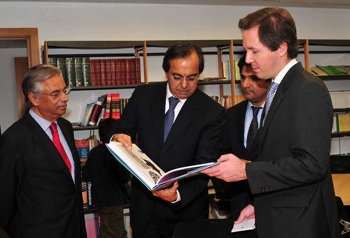 AKDN Representative Nazim Ahmad, Ismaili Council for Portugal President Amirali Bhanji, Karim Vissangy, and Secretary of State of European Affairs of Portugal, Pedro Lourtie together in the library of the Ismaili Centre, Lisbon. Photo: Courtesy of the Ismaili Council for Portugal