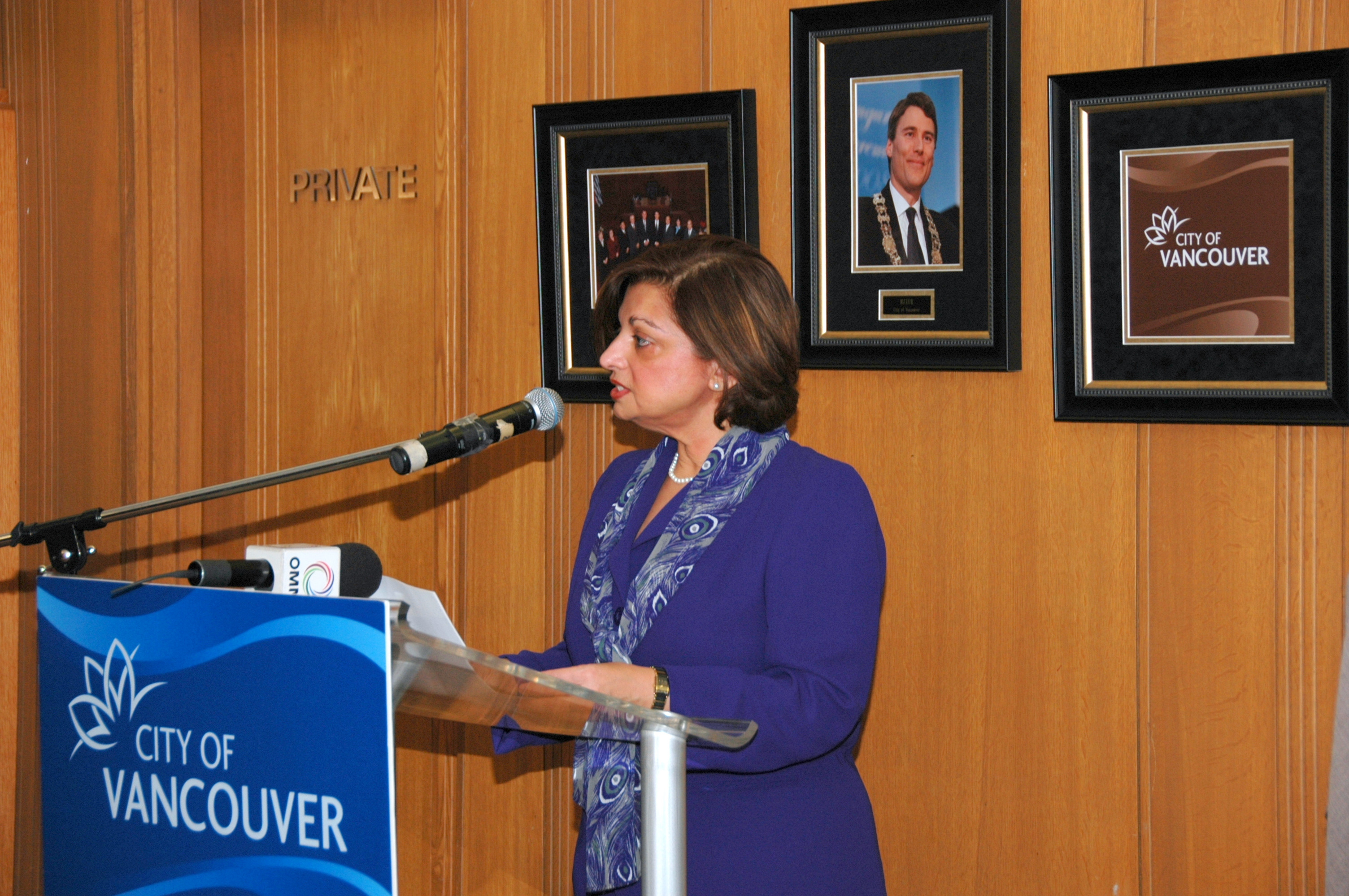 Samira Alibhai, President of the Ismaili Council for British Columbia, delivers the opening remarks of the Eid al-Adha commemoration at Vancouver City Hall. Photo: Sultan Bhalo
