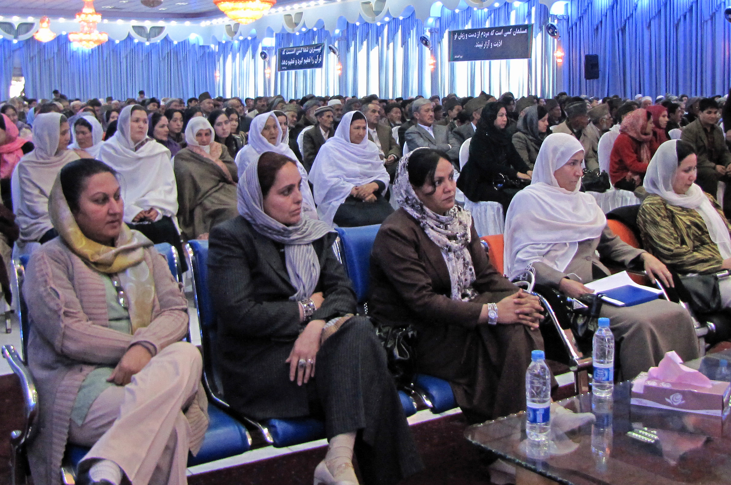 Some 800 people – women and men – gathered to commemorate <i>Mowlud-e-Sharif</i> in Kabul. Similar events were hosted by Jamati institutions in other parts of Afghanistan. Photo: Courtesy of the Ismaili Council for Afghanistan