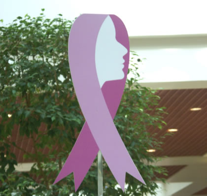 Display of the breast cancer ribbon outside a Dubai shopping Centre. Photo: Karim Halani