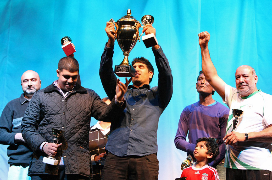 Traditional Volleyball winners celebrate their trophy. Photo: Courtesy of the Ismaili Council for the UK