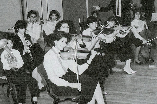 The Ismaili Orchestra performing in the Social Hall at the Ismaili Centre, London in 1987. Photo: Courtesy of the Ismaili Council for the UK