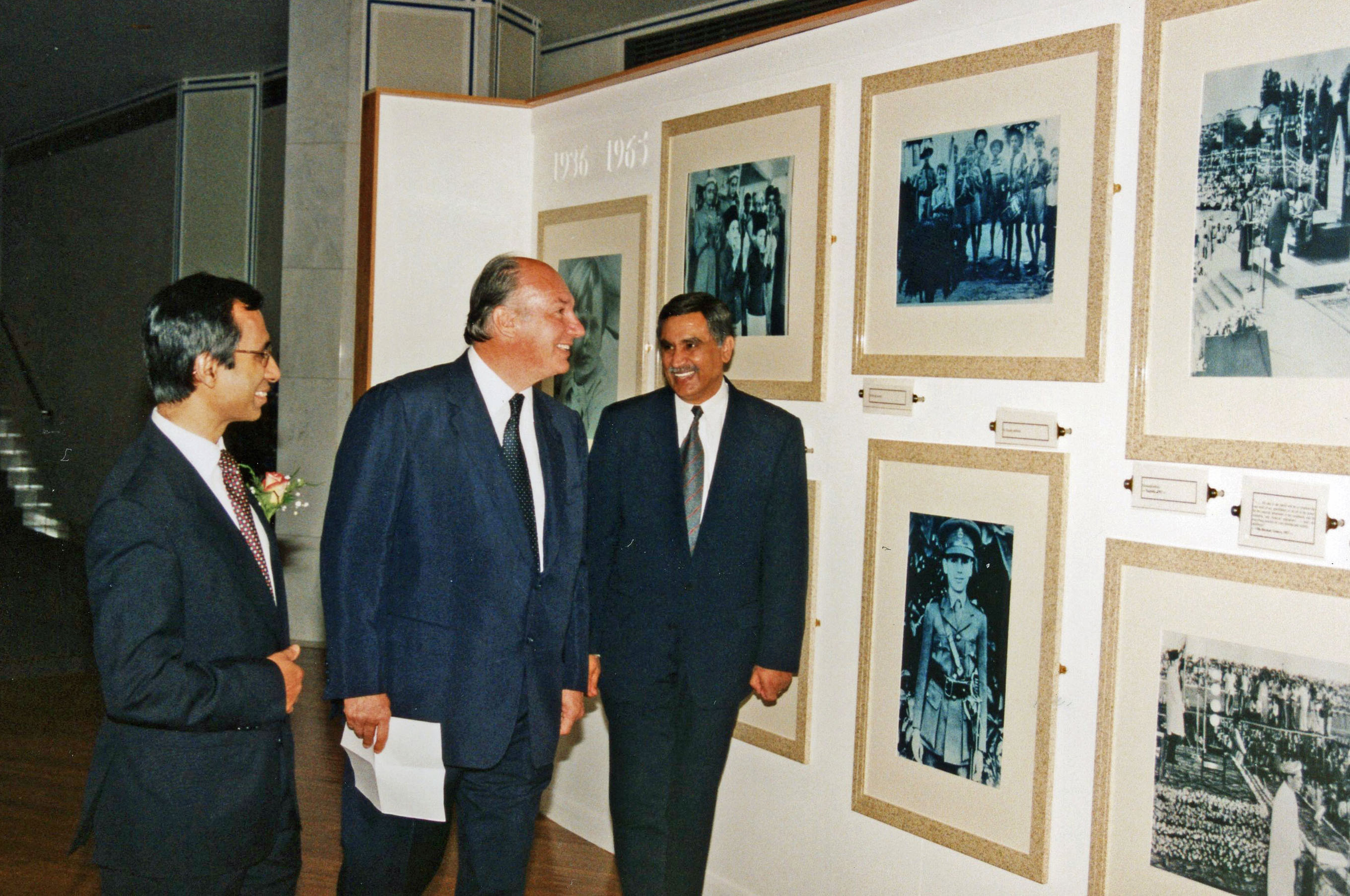 Mawlana Hazar Imam reviews an exhibition at the Ismaili Centre, London on the occasion of the 40th Anniversary of his accession to the Imamat.