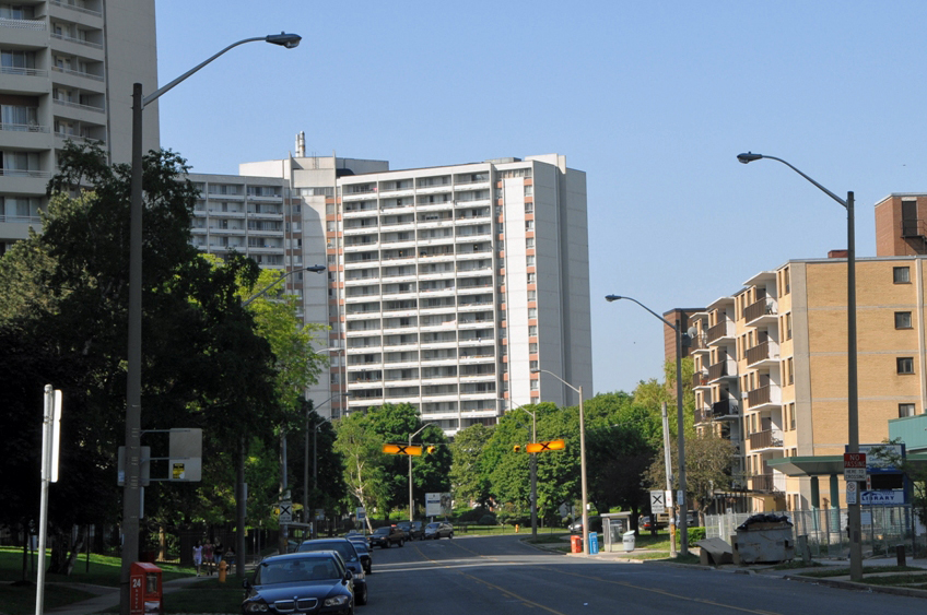 Some of the first Ismaili immigrants to Canada settled in apartment buildings like these ones, along Thorncliffe Park Drive. Photo: Moez Visram