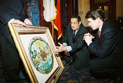 Mirza with Governor Rick Perry showcasing his work at the Texas State Capitol in 2004. Photo: Abdul Mohamed