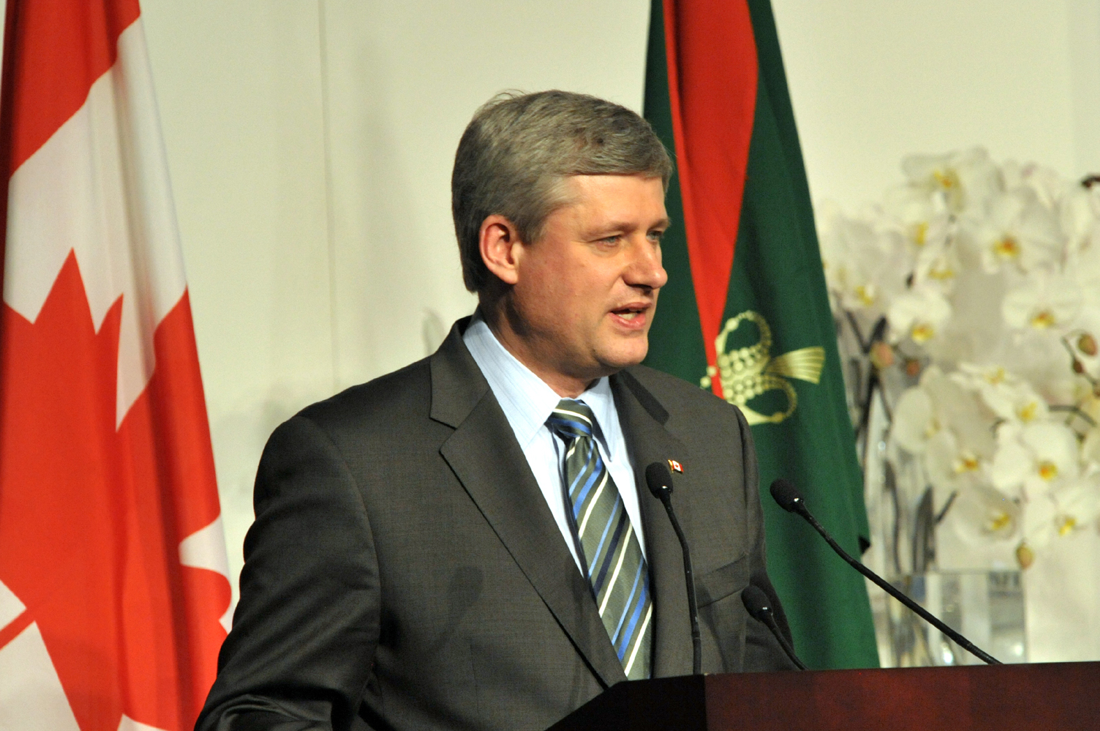 Canadian Prime Minister Stephen Harper speaking at the Foundation Ceremony in Toronto. Photo: Zahur Ramji
