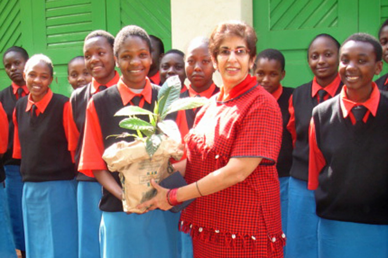 Shariffa Keshavjee with members of the Kenya Girl Guides after a day of planting trees. Photo: Courtesy of Shariffa Keshavjee