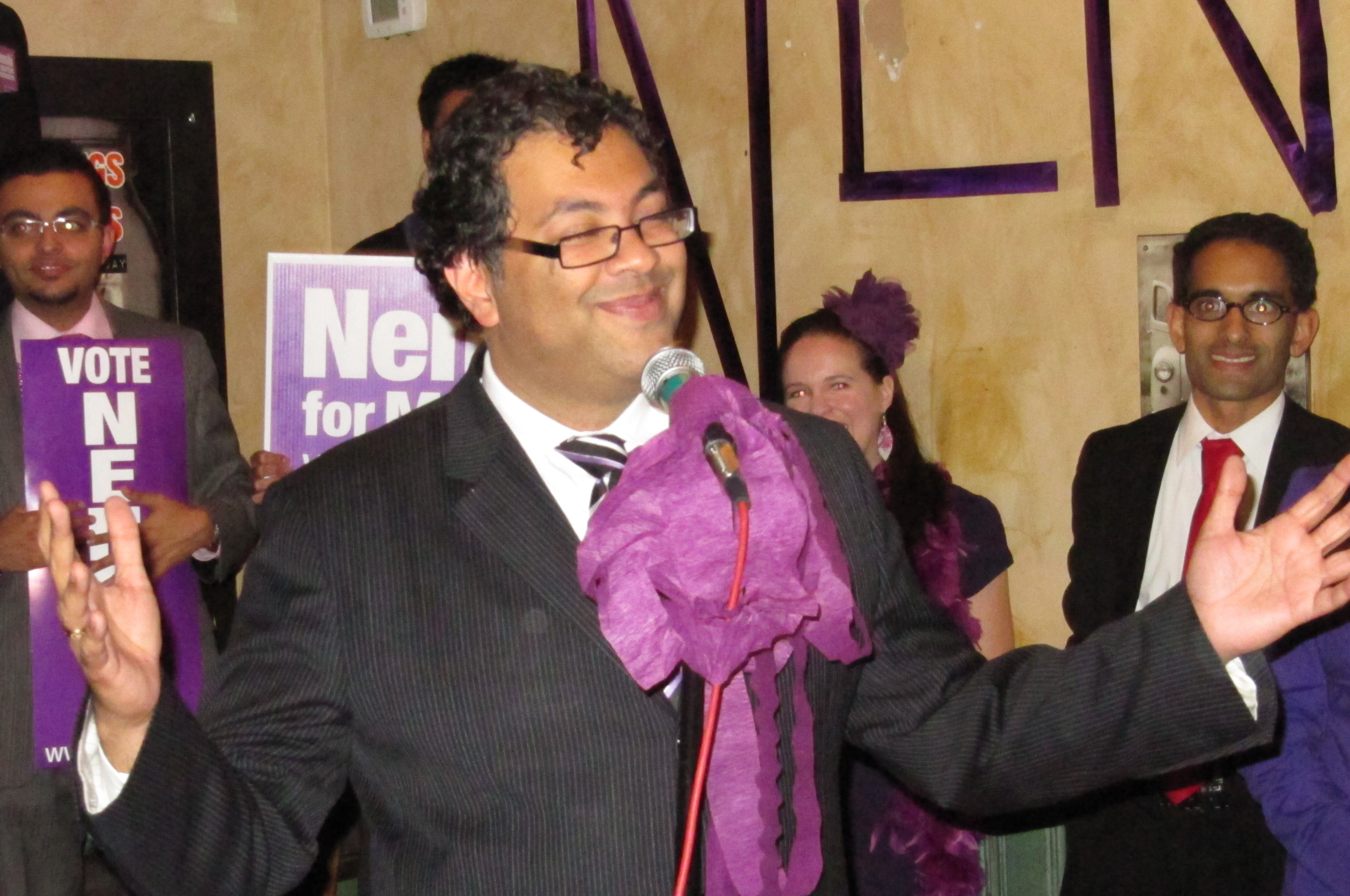 "Newly-elected mayor of Calgary, Naheed Nenshi, celebrates victory with his famous ""purple army"" of volunteer campaign workers and supporters. Photo: Courtesy of Naheed Nenshi"