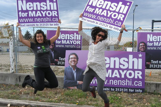 Nenshi's six-month mayoral campaign did not have any paid staff. It was powered by enthusiastic, energised and engaged volunteers. Photo: Courtesy of Naheed Nenshi