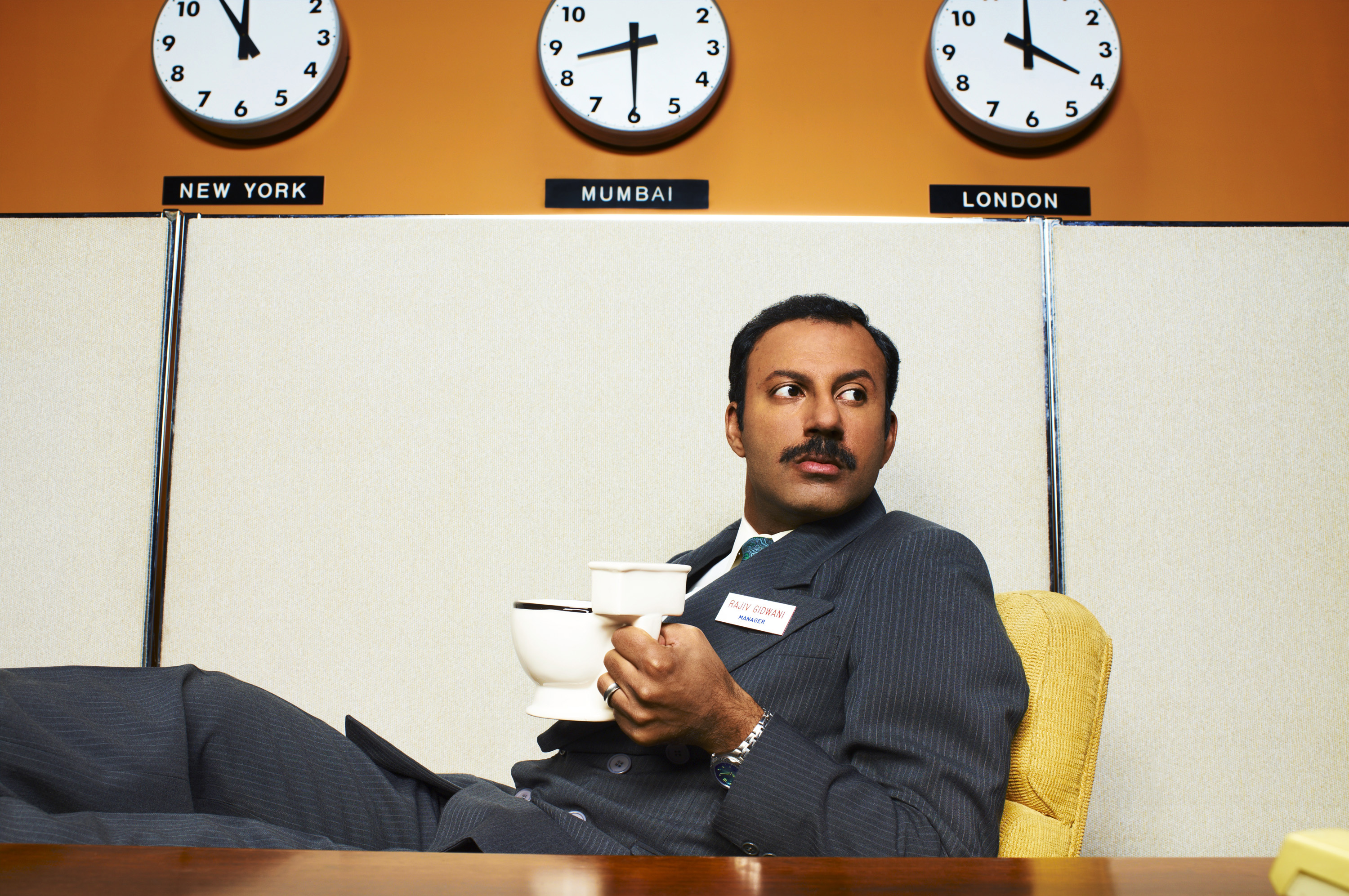 "In ""Outsourced"", Rizwan Manji plays the part of Rajiv Gidwani, an ambitious and conniving assistant manager of a call centre in India. Photo: Chris Haston/NBC"