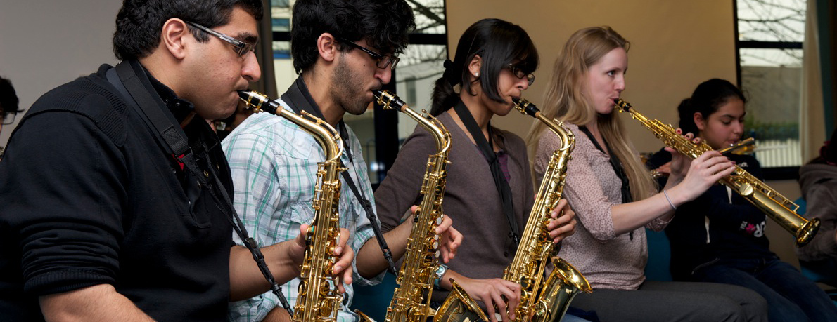 The saxophonists rehearse ahead of the big concert. Photo: Naveed Osman