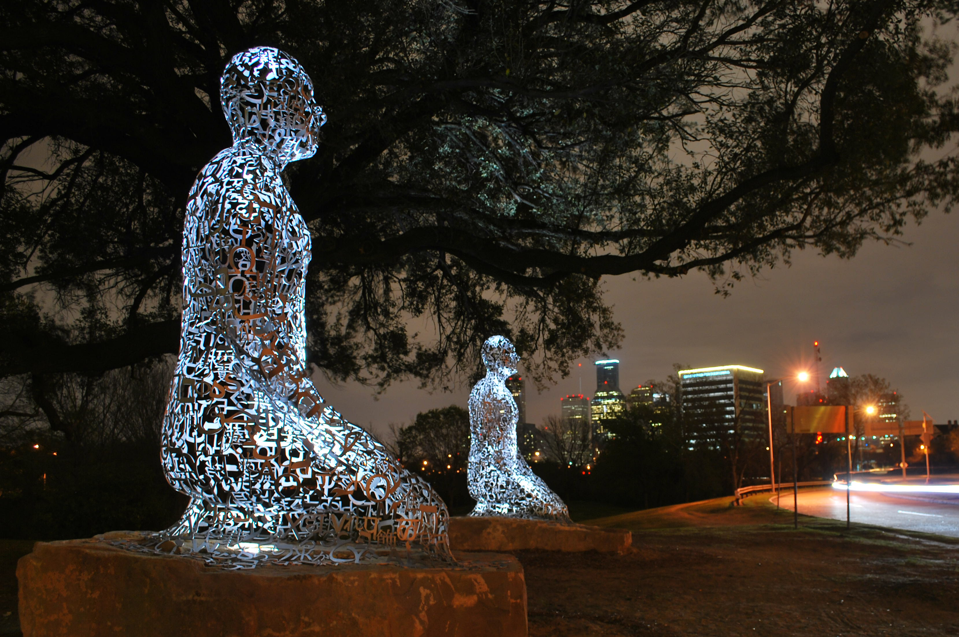 A view of the Tolerance sculptures along Allen Parkway at night time. Photo: Zahid Alibhai