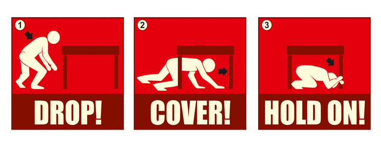 Be prepared to protect yourself during an earthquake: 1. DROP and make yourself small; 2. Take COVER under a shelter; and 3. HOLD ON until the shaking stops. Copyright: AKDN