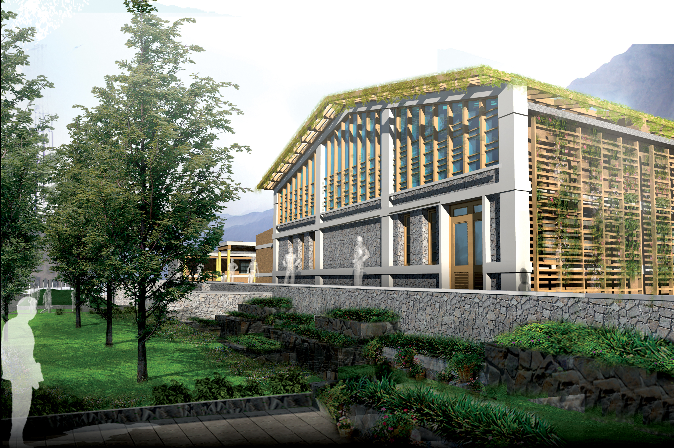 A three-dimensional prototype image, portraying a view of the prayer hall at the proposed Baladul Karim Jamatkhana in Gilgit. Photo: Courtesy of AKPBS, Pakistan
