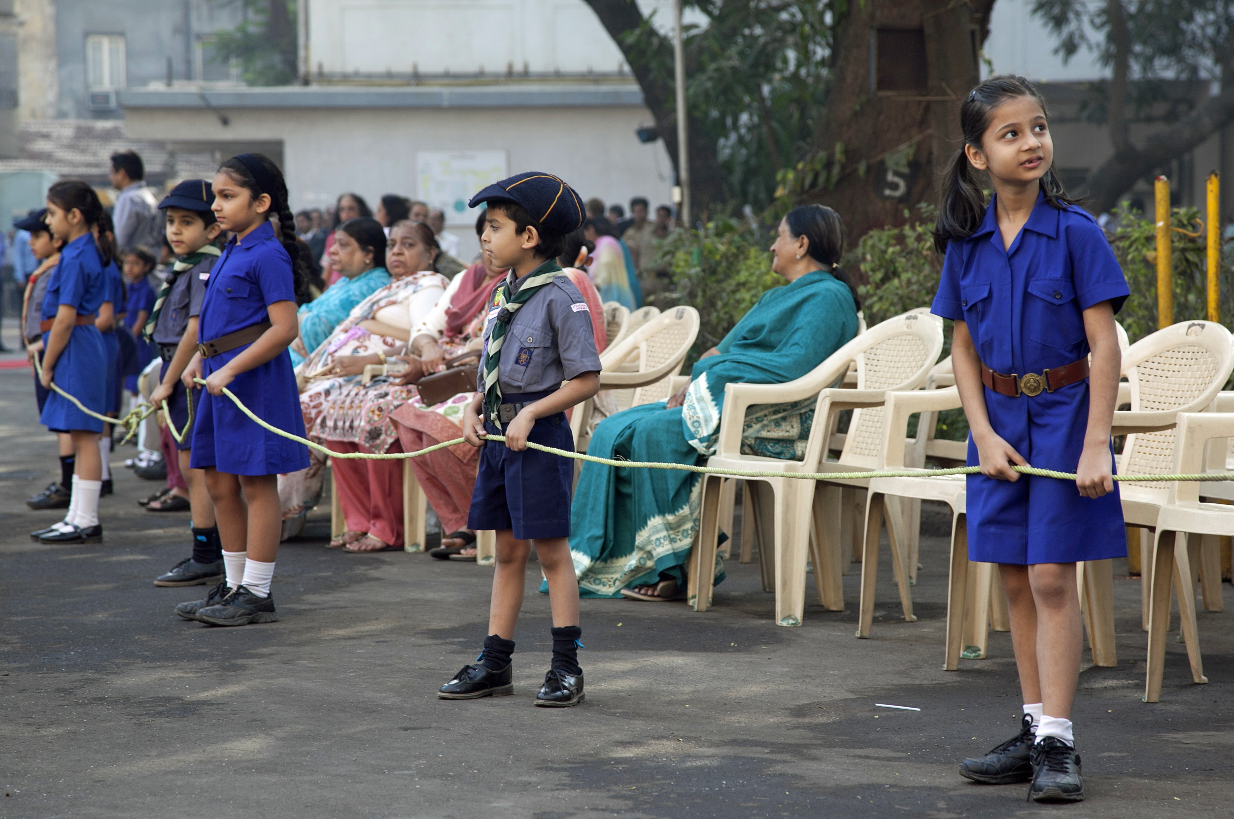 Cubs (Boy Scouts) and Bulbuls (Girl Guides) line up in preparation for Princess Zahra's visit to Prince Aly Khan Hospital in Mumbai. Photo: Courtesy of the Ismaili Council for India