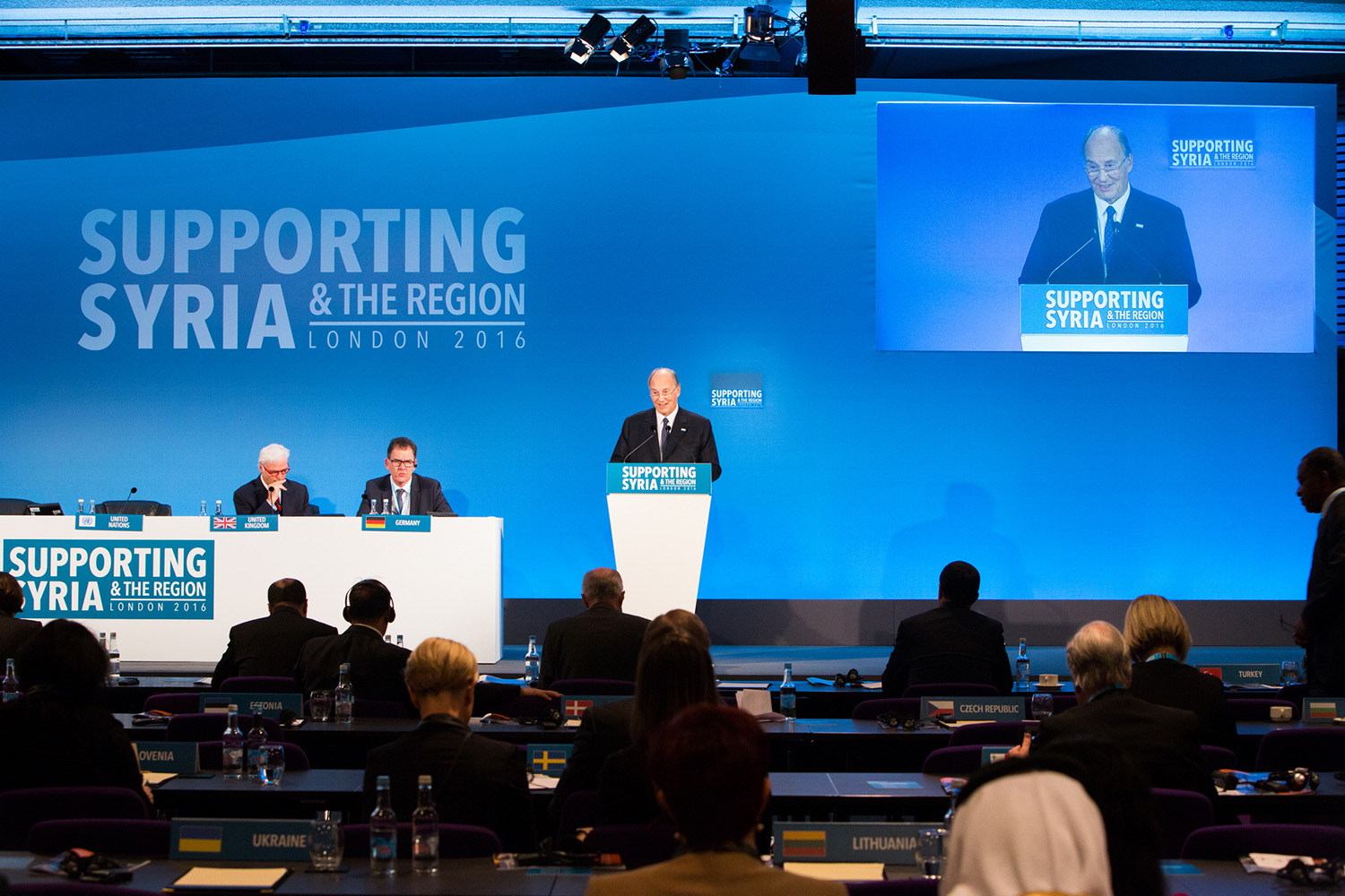 Mawlana Hazar Imam addressing the Supporting Syria and the Region conference in London on 4 February 2016.