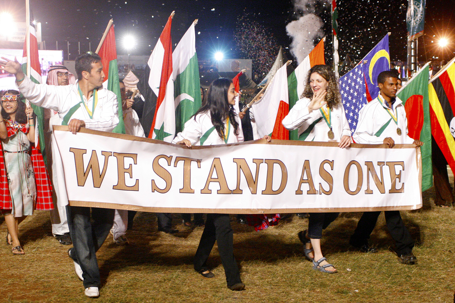 Celebrating diversity of cultures during the closing ceremonies at the Golden Jubilee Games. JG