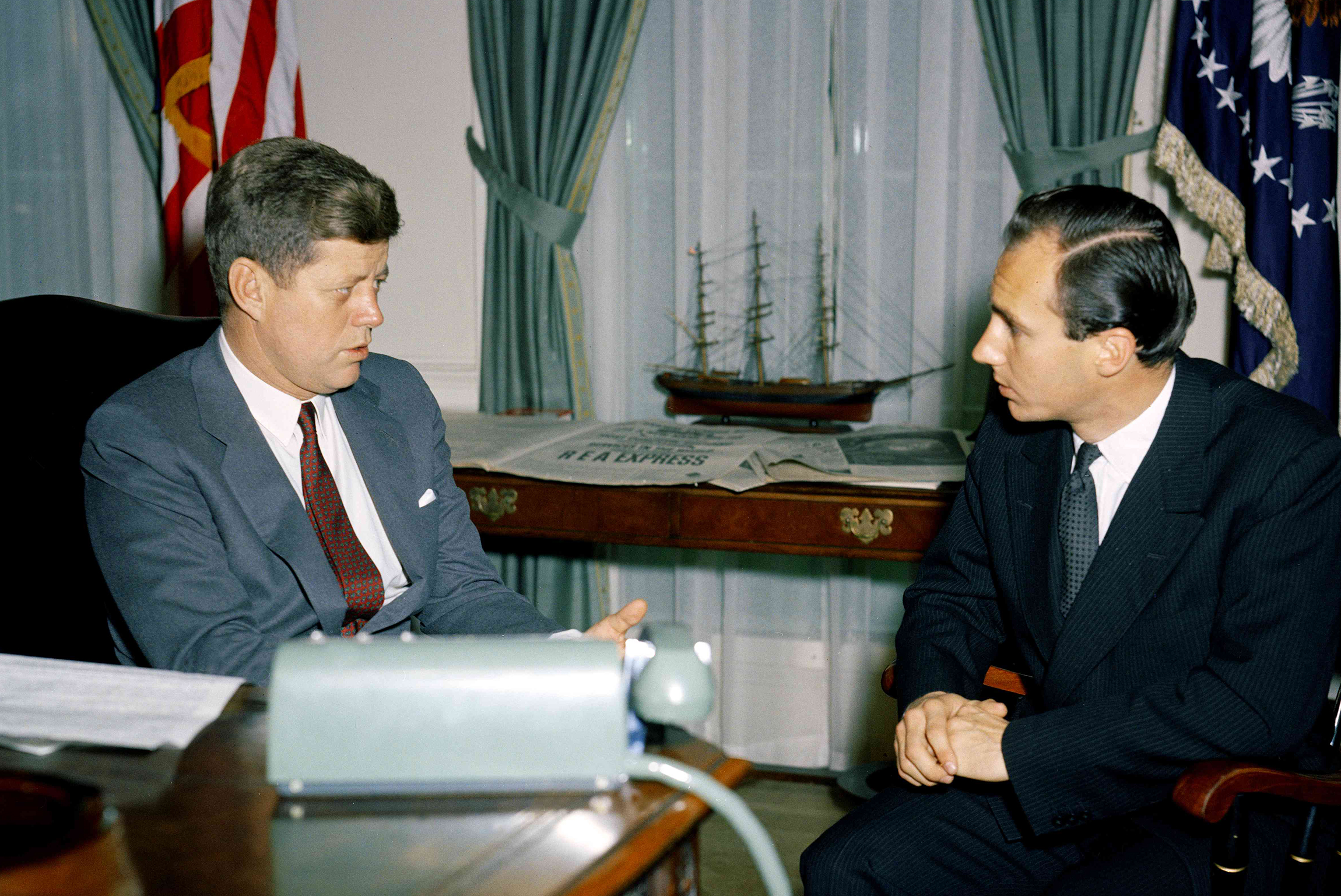 Meeting with President Kennedy in the Oval Office at the White House in 1961.