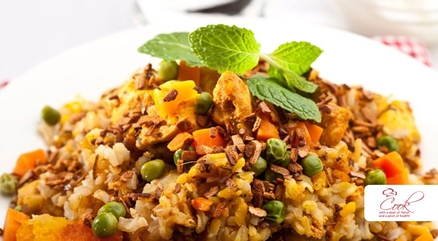 Brown Rice Pilaf with Chicken and Vegetables