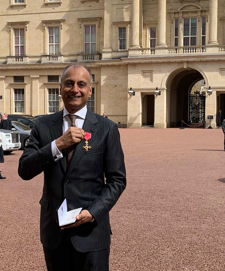 Abyd Karmali at Buckingham Palace. Abyd was made an Officer of the Most Excellent Order of the British Empire (OBE) in the Queen's New Year's Honours List for 2019.