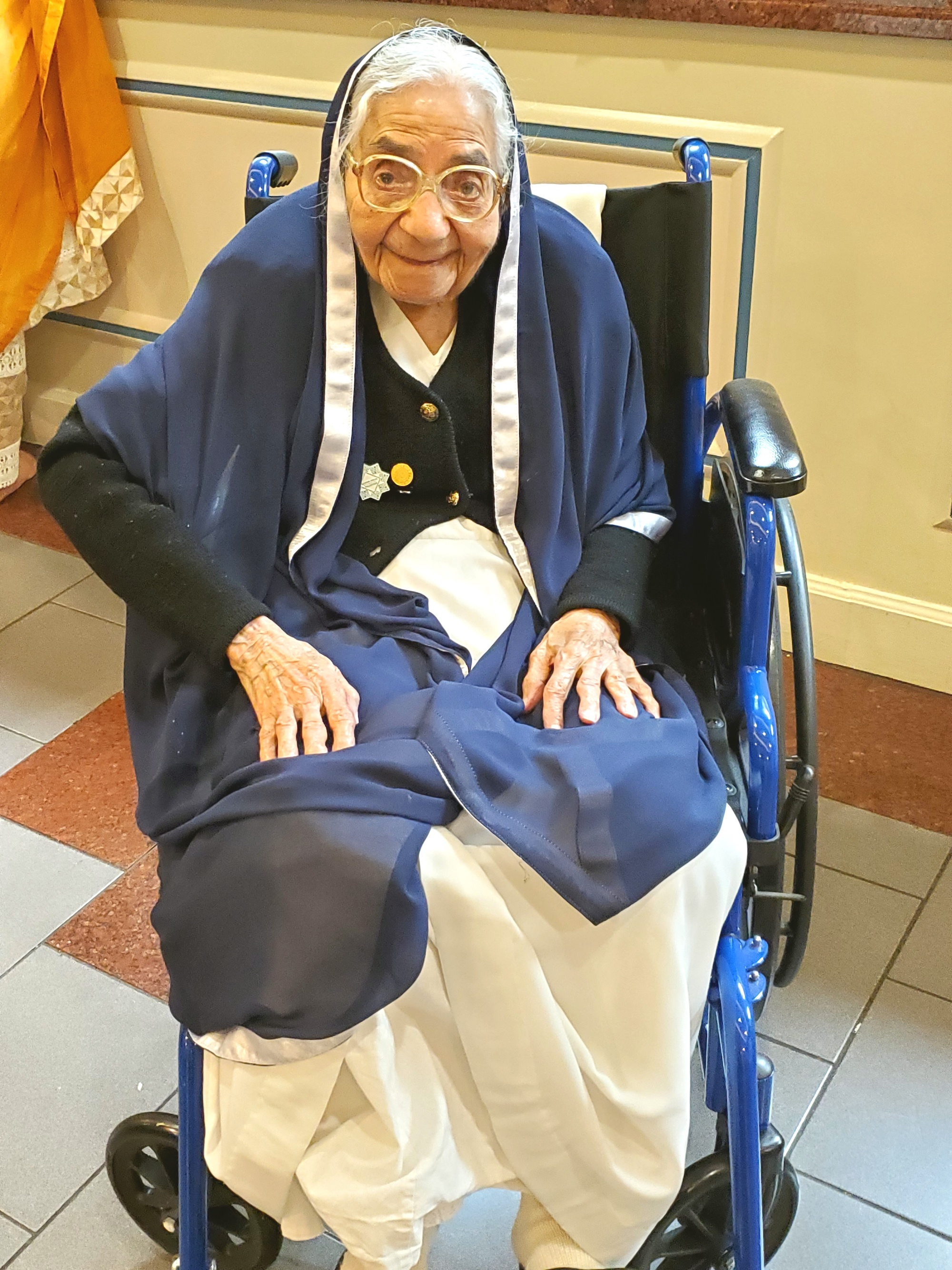 Fatima Jamani (Maaji) in Atlanta, who still performs voluntary duties at 105 years of age.