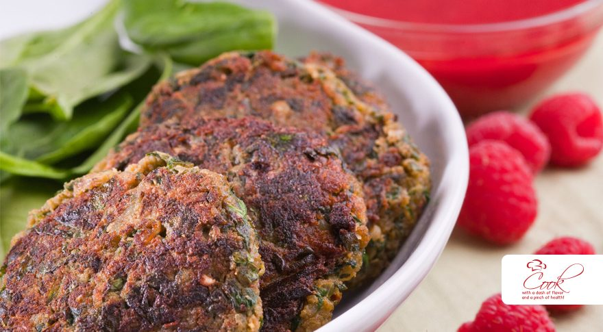 Spinach and Potato Kabab with Raspberry Chutney: