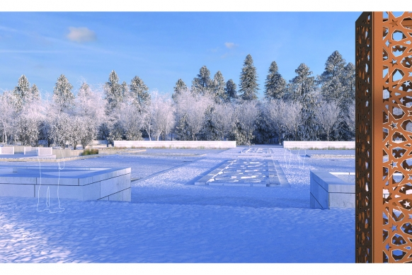 Snow will add emphasis to the geometric structure of the Aga Khan Garden's chahar-bagh central courtyard. NBWLA