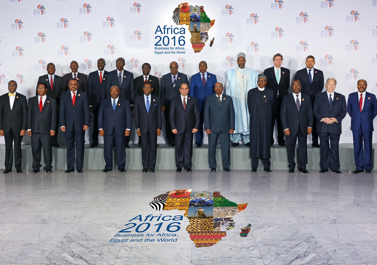 Mawlana Hazar Imam together with heads of state at the Africa 2016 Forum in Sharm el Sheikh, Egypt. AKDN / Zahur Ramji