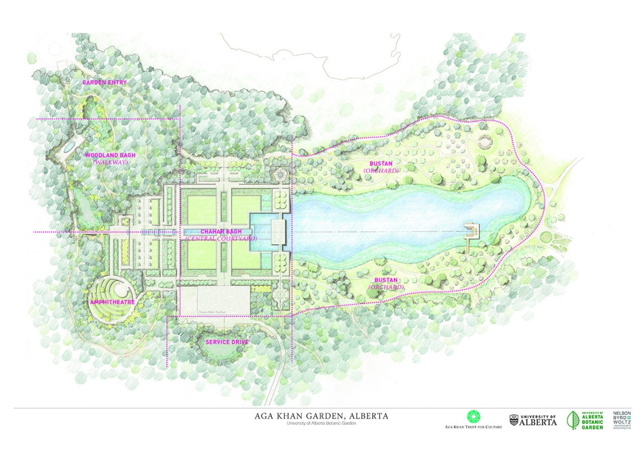 An aerial overview of the design for the Aga Khan Garden, Alberta. NBWLA