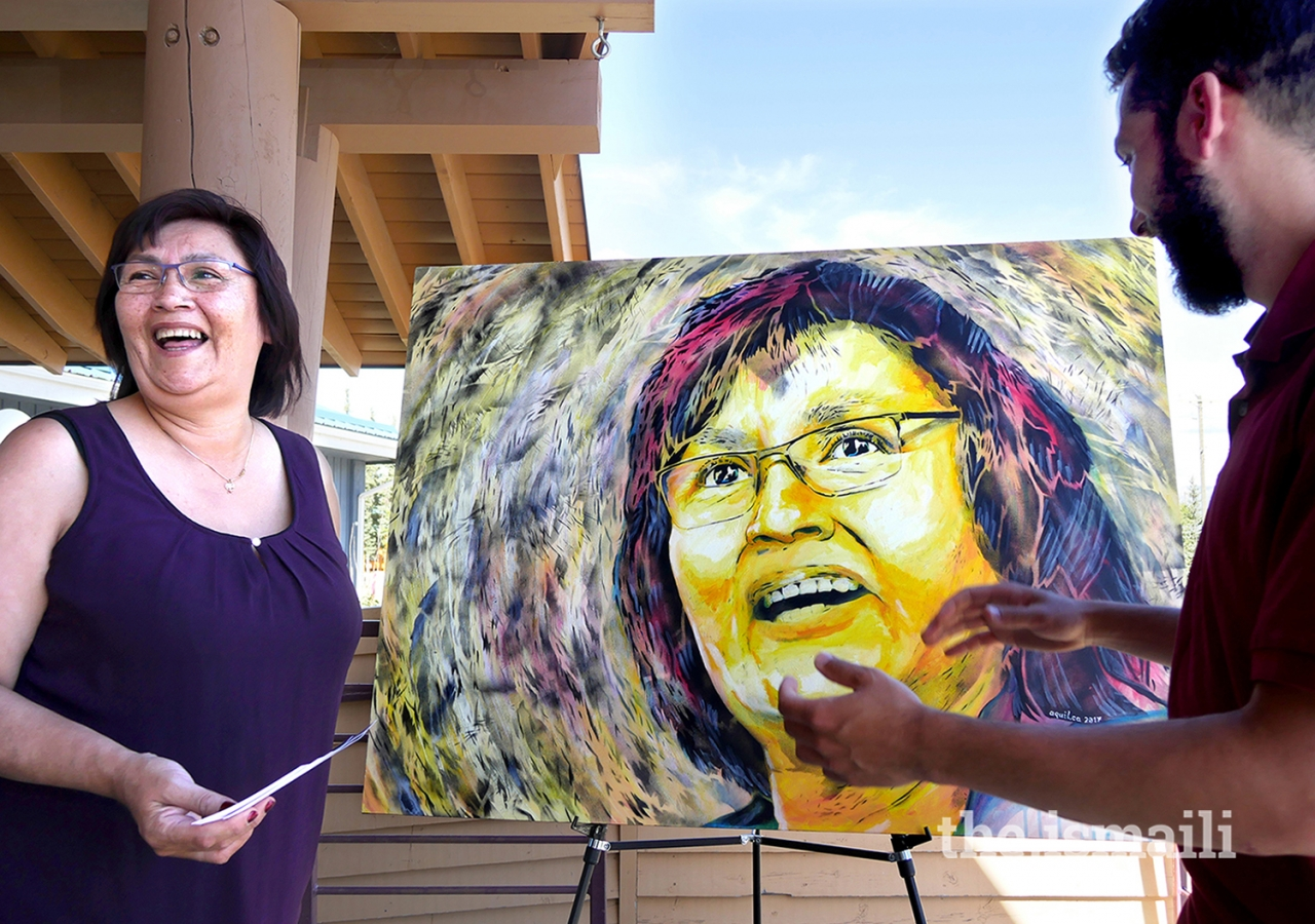 With social change and public interaction at the core of his art, Aquil Virani asked the public what adjectives describe inspiring women and picked 26 from A to Z to feature in 26 prints. This is a portrait of Kwanlin Dün First Nation Chief Doris Bill.