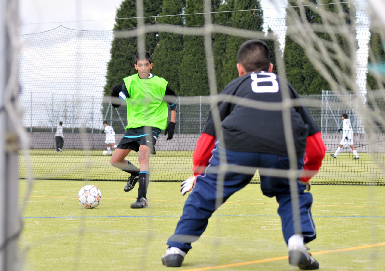 Footballers playing to win at the National Sports Festival.
