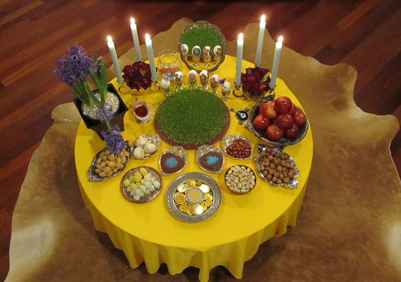A traditional haft-seen table spread