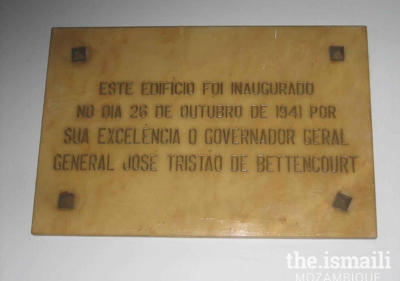 Inauguration Plaque of the Jamatkhana 1941