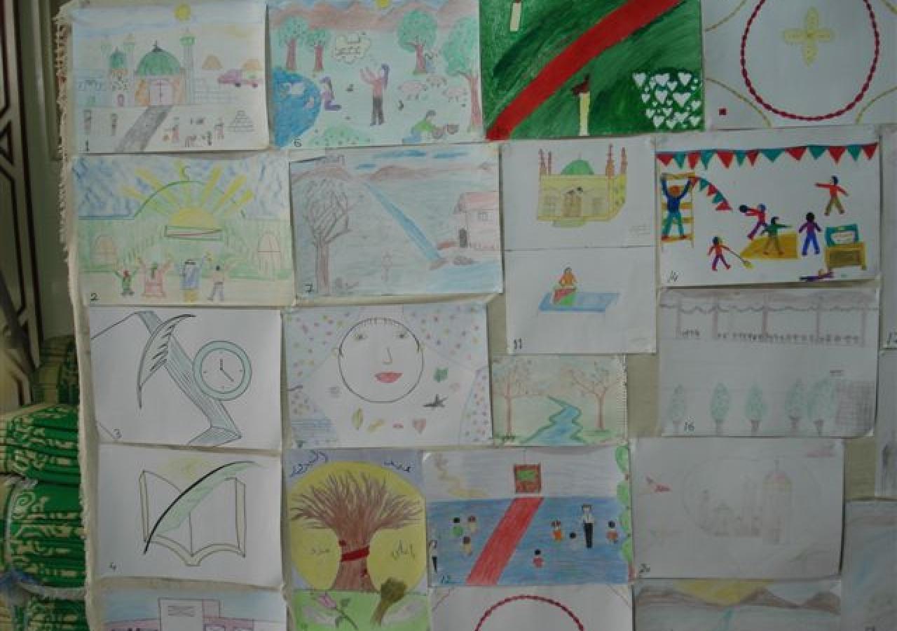 Artwork by Syrian Ismaili children aged 8 – 12, presented at <em>Golden Vision with Golden Hands</em>, an exhibition of illustrations.
