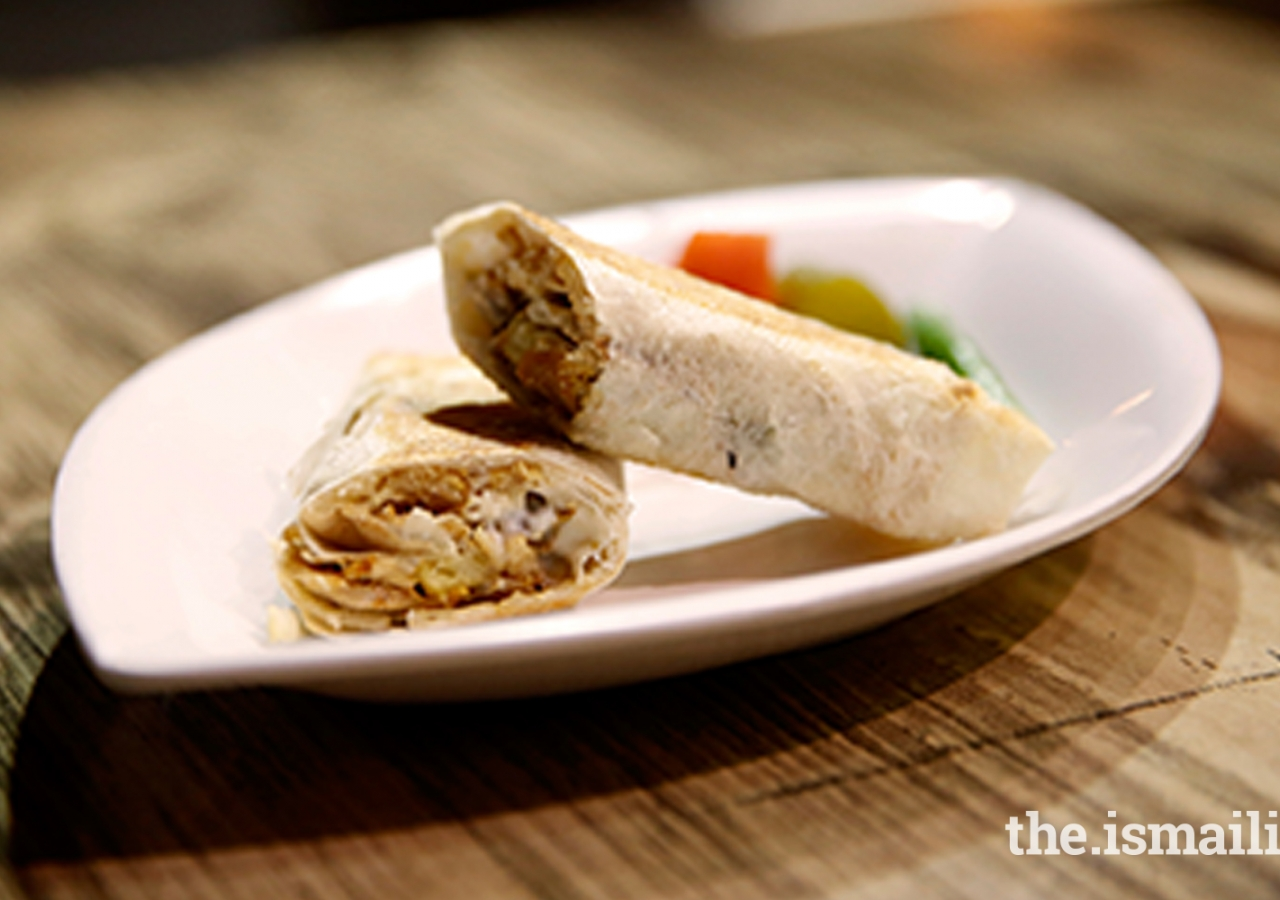 Brimming with meat, this wrap makes for a filling snack when you're on the go!