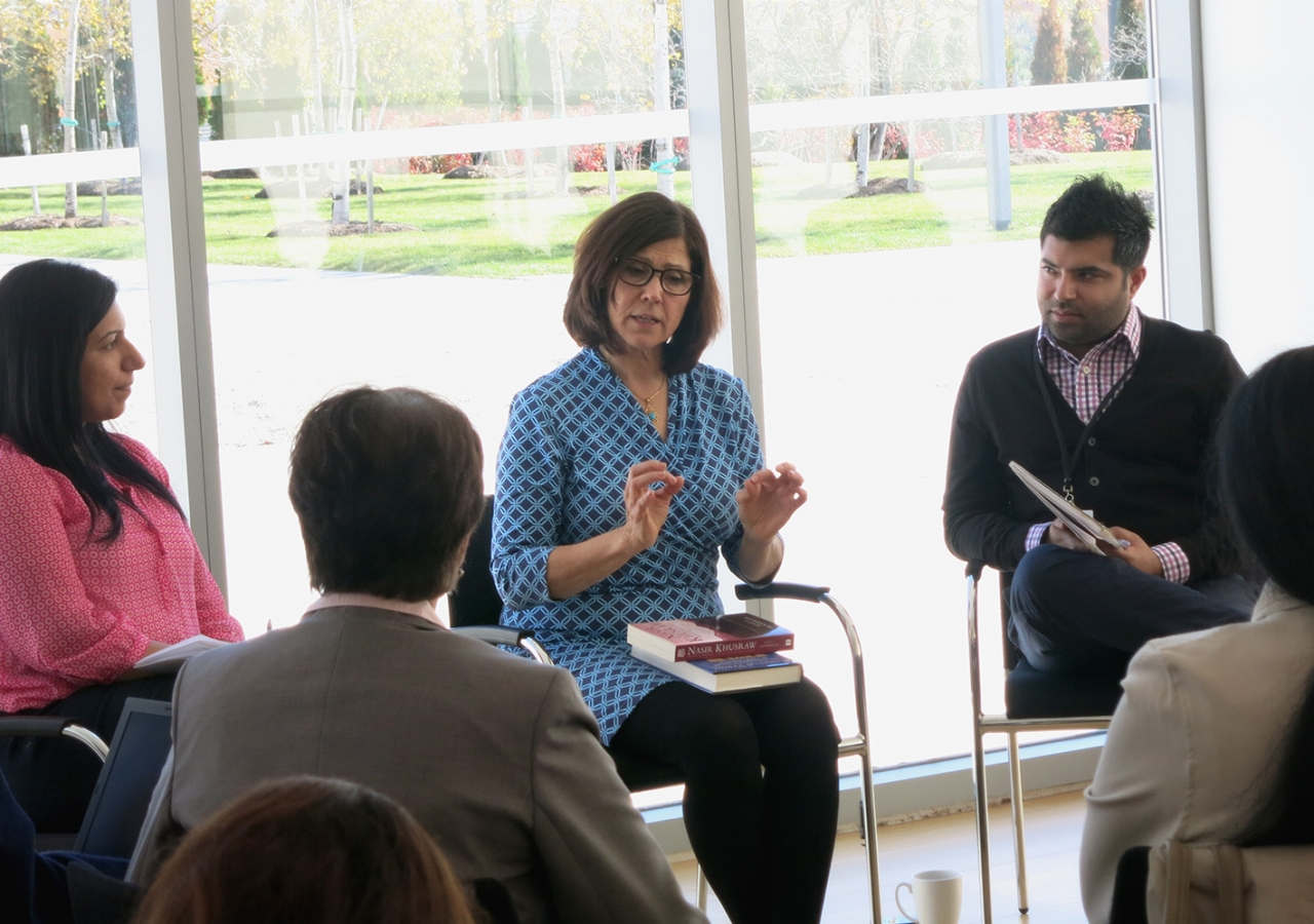 Dr Alice Hunsberger in conversation with ITREB educators at the Ismaili Centre, Toronto on 24 October 2014. Zulfikar Hirji